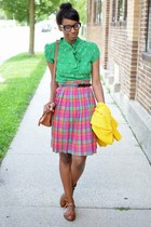green cherry print modcloth blouse - brown TIL Darling purse