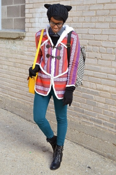 purple Ladakh coat - black thrifted boots - teal skinny Nasty Gal jeans