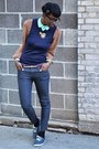Light-brown-teal-collar-ark-co-blouse-navy-american-apparel-vest