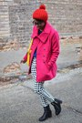 Black-thrifted-boots-hot-pink-bright-thrifted-coat-red-pom-pom-oasap-hat