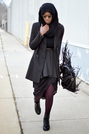 black double breated JollyChic coat - magenta plain thrifted tights