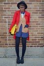 Black-urbanog-boots-red-single-breasted-tulle-coat-yellow-vj-style-bag