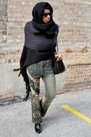 black modcloth boots - dark khaki vintage jeans