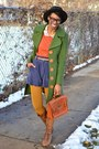 Brown-knee-high-urbanog-boots-forest-green-wooden-button-thrifted-coat