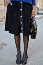 Blue-elbow-patch-oasap-sweater-black-sheer-polka-dot-leg-avenue-tights