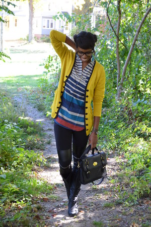 yellow Look Basic cardigan - black Jacobies boots - black thrifted leggings