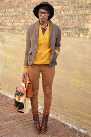 mustard 1960s button up thrifted vintage cardigan - dark brown thrifted boots