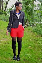 black suit thrifted jacket - black asos tights - red thrifted shorts