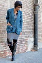 teal Tobi cardigan - black UrbanOG boots - heather gray Audrey 31 dress