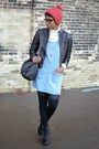 Black-thrifted-boots-light-blue-fiery-finish-vintage-dress