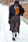 Dark-brown-jollychic-coat-black-fedora-thrifted-hat-navy-jollychic-jacket