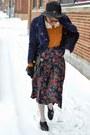 Dark-brown-jollychic-coat-black-fedora-thrifted-hat-navy-jollychic-jacket