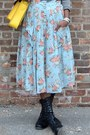 Black-bamboo-boots-yellow-vj-style-bag-light-blue-floral-cotton-candy-skirt