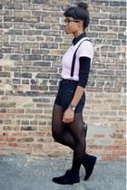 black Forever 21 blouse - black suede ankle cotton on boots - black VJ Style bag