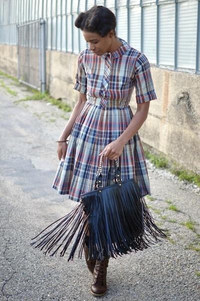 black chicnova bag - dark brown thrifted boots - tan vintage dress