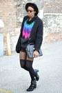 Black-fedora-thrifted-hat-aquamarine-thrifted-vintage-sweater