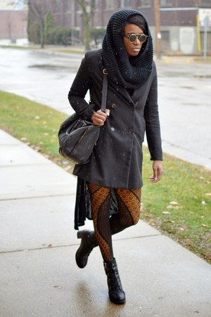 black thrifted boots - black JollyChic coat - mustard yellow thrifted tights