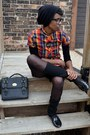 Carrot-orange-thrifted-dress-black-gypsy-tights-black-street-level-bag