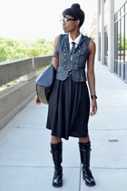 black VJ Style bag - black pocket modcloth skirt - gray thrifted vest