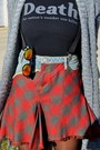 Brick-red-vintage-skirt-black-vj-style-bag-carrot-orange-zerouv-sunglasses