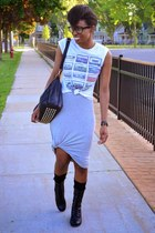 black UrbanOG boots - heather gray sleeveless tank Choies dress
