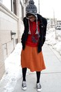 Carrot-orange-pleated-asos-skirt-ruby-red-chicnova-sweater