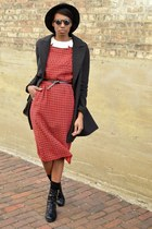 black thrifted boots - brick red vintage dress - black JollyChic coat