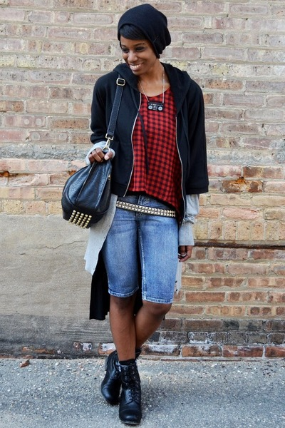 black VJ Style bag - black UrbanOG boots - light blue bermuda thrifted shorts