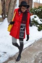 navy vintage blazer - ruby red sammydress dress - red single breasted Tulle coat