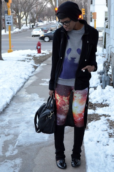 heather gray purple panda Free Gold Watch sweater