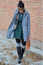 Pink-thrifted-blazer-black-modcloth-boots-forest-green-skater-choies-dress