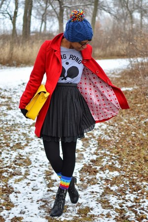 red double pocket Tulle coat - black thrifted boots - blue OASAP hat