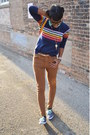 Brown-levis-jeans-navy-thrifted-sneakers-blue-fervour-top