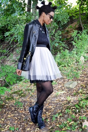 black UrbanOG boots - light pink tulle modcloth dress - black TIL Darling jacket