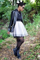 black UrbanOG boots - light pink tulle thrifted dress - black TIL Darling jacket