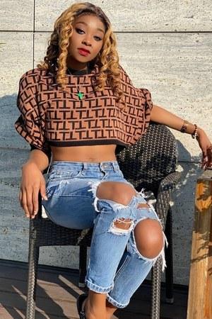 knit Femmeluxe sweater - bronze sweater