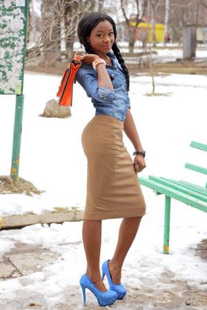 Incity skirt - check my blog bag - Red Kiss pumps - Town t-shirt