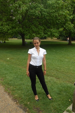 black jeans - white blouse - black flats - black belt - silver Pandora bracelet
