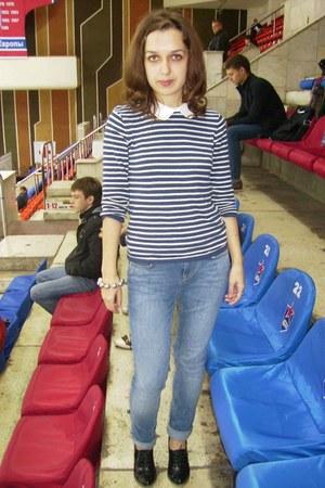 blue Miss Selfridge jeans - blue and white Topshop jumper - black heels
