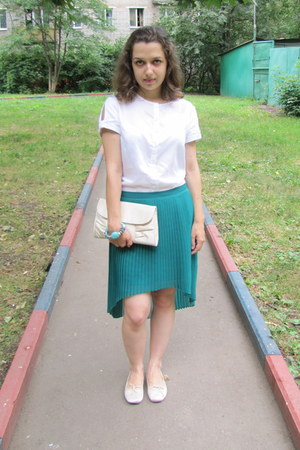 Zara skirt - Accessorize purse - Topshop pumps - sela blouse - bracelet