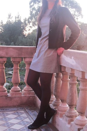 black Klein Plus blazer - white Fornari dress - black Zara flats