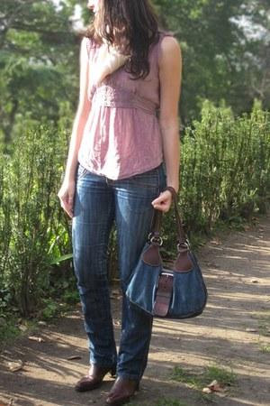 dark brown Yves Saint Laurent boots - blue BLANCO jeans