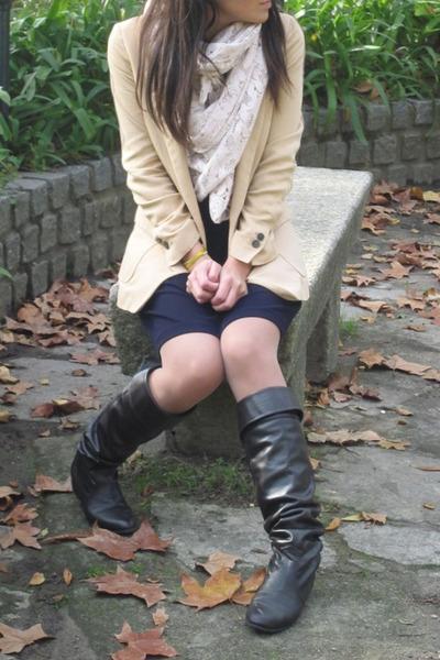 dark brown lowrys farm boots - navy Dorothe Bis dress - light yellow Zara blazer
