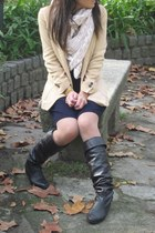 dark brown lowrys farm boots - navy Dorothe Bis dress - light yellow Zara blazer