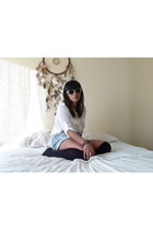chiffon Forever New shirt - denim Levis shorts - nude Claires sunglasses - gold
