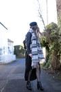 Black-outsider-dress-black-asos-hat-heather-gray-accessorize-scarf