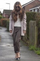 camel cocoon Wallis coat - off white aran asos jumper - light brown asos pants