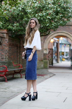tan Mulberry bag - blue M&S skirt - dark brown JORD watch