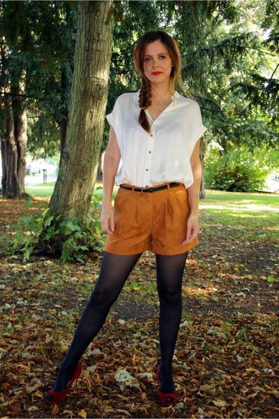 black Matalan tights - tawny suede effect Matalan shorts