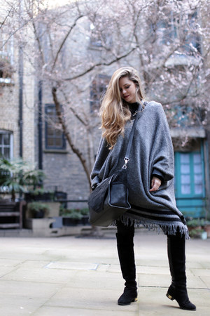 black Kurt Geiger boots - gray asos cape